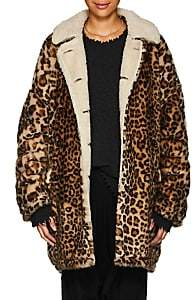 R 13 Women's Leopard-Print Faux-Fur Hunting Coat