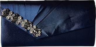 Jessica McClintock Sage Pleated Evening Clutch with Rhinestone Detail