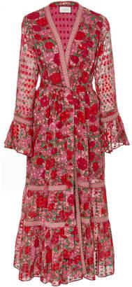 Alexis Marcas Tie-Front Floral-Print Voile Midi Dress