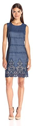 Tommy Hilfiger Women's Sleeveless Embroidered Tencel Denim Sheath $70.33 thestylecure.com