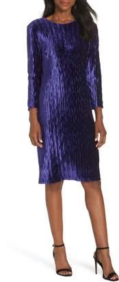 Maggy London Plisse Velvet Sheath Dress