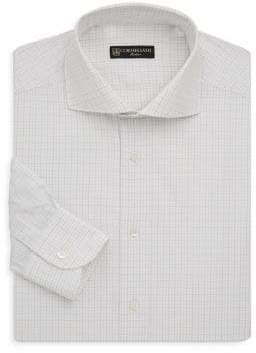 Corneliani Regular-Fit Windowpane Cotton Dress Shirt