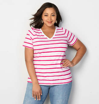 Avenue Striped V-Neck Tee