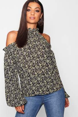 boohoo Tall Ditsy Floral Ruffle Cold Shoulder Top