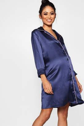boohoo Maternity Satin Button Through Night Shirt