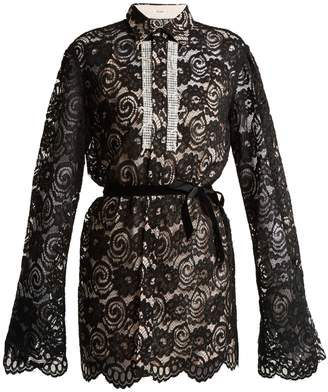 BLOUSE Shickle crystal-embellished lace shirtdress