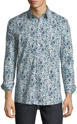 Duchamp Floral Watercolor Sport Shirt