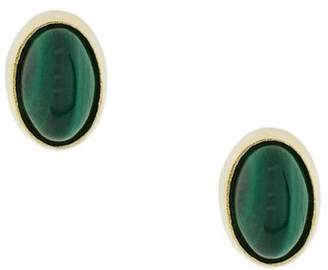 Wouters & Hendrix Gold oval Malachite earrings