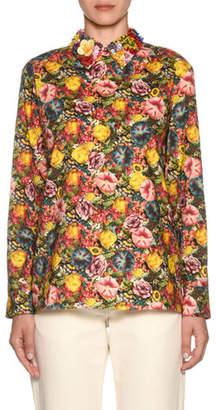 Marni Embellished-Collar Long-Sleeve Zip-Back Floral-Print Blouse