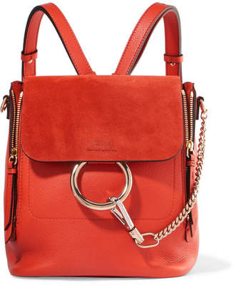 Chloé Faye Small Textured-leather And Suede Backpack - Tomato red