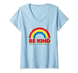 Womens Be Kind Rainbow Vintage Retro Design Support Love Bright V-Neck T-Shirt