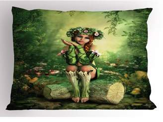 BEIGE Fairy Pillow Sham Computer Art Elf Girl with Wreath on Her Head Sitting on a Tree Stump Fantastic, Decorative Standard King Size Printed Pillowcase, 36 X 20 Inches, Green Pink, by Ambesonne