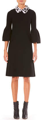 Carolina Herrera Bell-Sleeve A-Line Stretch-Wool Knit Dress w/ Fur Collar