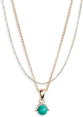 Treasure & Bond Layered Stone Pendant Necklace