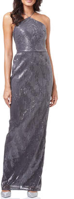 Adrianna Papell Pleated Sequin Column Evening Gown