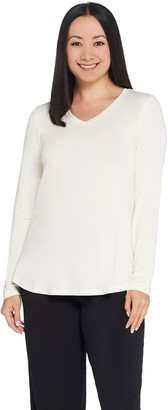 Halston H By H by Essentials V-Neck Long Sleeve Top