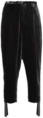Toga High Rise Carrot Leg Velvet Trousers - Womens - Black
