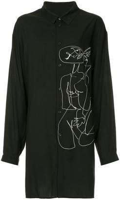 Yohji Yamamoto line drawing oversized shirt