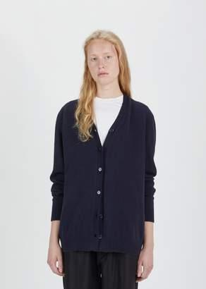 Sara Lanzi Wool Cashmere Oversized Cardigan Navy