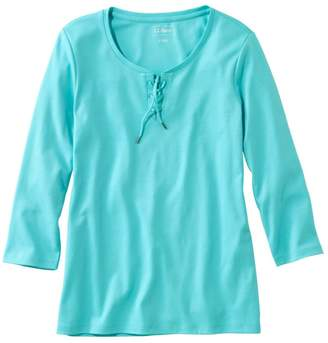 L.L. Bean Women's L.L.Bean Tee, Three-Quarter-Sleeve Lace-Up