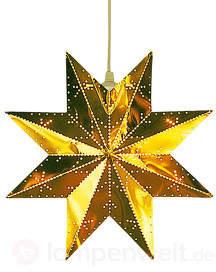 Perforierter Stern in glänzendem Messing