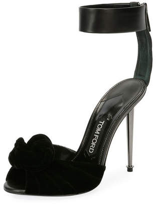 Tom Ford Velvet/Leather Knot Hardware-Heel Sandal