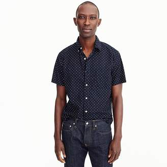J.Crew Short-sleeve stretch slub cotton shirt in dot print