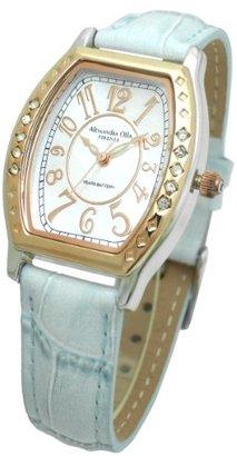 Alessandra Olla (アレッサンドラ オーラ) - [アレサンドラオーラ]Alessandra Olla 腕時計 トノー型 10Pクリスタルベゼル ウォッチ レザーベルト ブルー AO-1850BL レディース