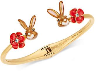 Kate Spade Gold-Tone Pave Flower & Bunny Cuff Bracelet