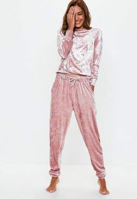 Missguided Pink Velvet Loungewear Tracksuit