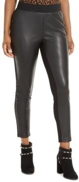 Thalia Sodi Faux-Leather-Front Leggings, Created For Macy's