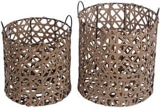 Privilege Set Of 2 Round Resin Wicker Baskets