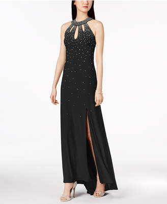 Night Way Nightway Embellished Open-Back Halter Gown