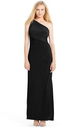 Lauren Ralph Lauren Embellished One-Shoulder Jersey Column Gown $190 thestylecure.com