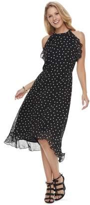 Elle Women's Dot Ruffle High-Low Halter Dress