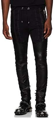Balmain Men's Leather-Inset Cotton Sweatpants