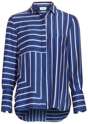 Akris Punto Square Stripes Silk Tunic Blouse