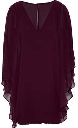 Halston Cape-Effect Layered Chiffon And Ponte Mini Dress