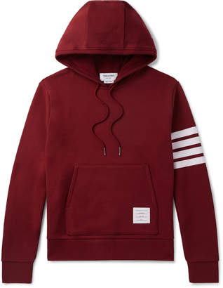 Thom Browne Striped Loopback Cotton-Jersey Hoodie - Men - Red
