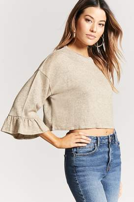 Forever 21 Marled Tiered-Sleeve Crp[ Top