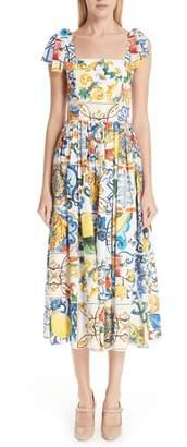 Dolce & Gabbana Tile Print Poplin Dress