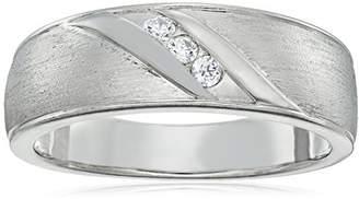 Swarovski Men's Platinum-Plated Sterling Silver Zirconia Slide 3-Stone Round-Cut Band Ring