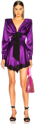 Alessandra Rich Lace Trim Satin Mini Dress in Purple | FWRD