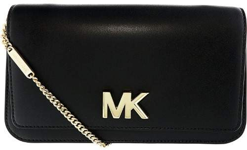 Michael Kors Women's Large Mott Soft Box Leather Clutch - Black - BLACK - STYLE