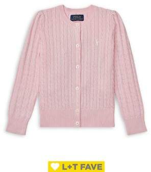 Ralph Lauren Childrenswear Little Girl's Cable-Knit Cotton Cardigan