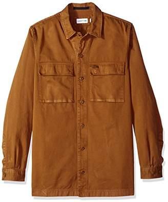Lacoste Men's Long Sleeve Fancy Collar Twill Regular Fit Woven Shirt