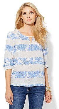 New York & Co. Striped Floral-Print Blouse
