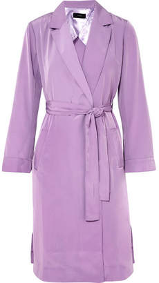 J.Crew Belted Satin Coat - Lilac