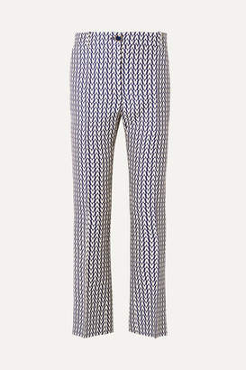 Valentino Printed Wool And Silk-blend Flared Pants - Navy