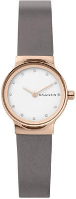 Skagen Women's Freja Gray Leather Strap Watch 26mm